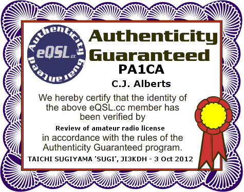 Certificate of authenticity PA1CA