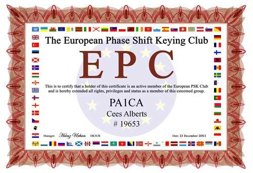 EPC certificate PA1CA