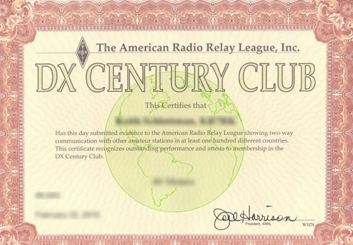 DXCC Sample Certificate