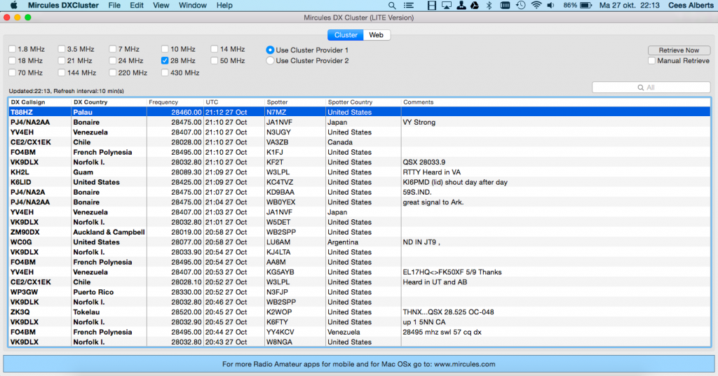 Mircules DX Cluster for the Mac OSx